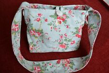 CATH KIDSTON - Canvas Shoulder Bag with Floral Pattern on Duck Egg Background