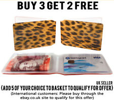 LEOPARD SKIN BUS PASS RAIL TRAVEL CREDIT BUSINESS METRO CARD HOLDER ID WALLET
