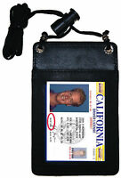 Black Leather ID Card Holder Badge Card Name Tag Pouch Neck Strap Wallet