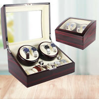 4+6 Grids Automatic Luxury Wood Watch Winder Display Box Organizer Storage Case