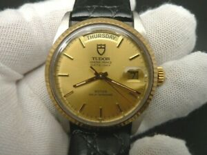 14K GOLD BEZEL TUDOR 94613 OYSTER PRICE DATE-DAY SWISS 2824 AUTOMATIC MEN WATCH
