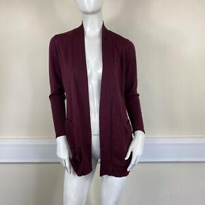 Primark Ladies Burgundy Maroon Fine Knit Long Open Front Cardigan UK Size 6-8