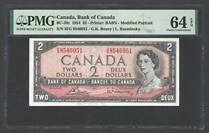 Canada 2 Dollars 1954 BC-38c Uncirculated Graded 64