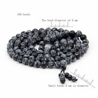 8mm Snowflake Gemstone Tibet Buddhist 108 Prayer Beads Mala Necklace--8mm*7mm