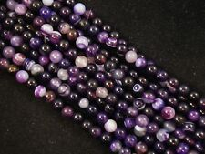 Gemstone Beads Purple Stripe Agate 6mm Round Beads 35cm Strand FREE POSTAGE