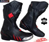 Hombre Negro/Rojo Velocidad Maxx Moto / Moto Ce Carreras Zapatos Piel / Fundas