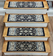 "Rug Depot 13 Traditional Carpet Stair Treads 31"" x 9"" Staircase Rugs Navy Poly"