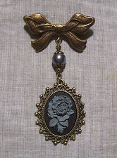 BRONZE GRAY BLACK ROSE CAMEO BOW BROOCH PIN VICTORIAN EDWARDIAN GOTHIC VAMPIRE