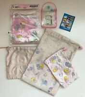 VINTAGE Japan Sanrio LITTLE TWIN STARS Kiki Lala Mini TOTE BAG &Drawstring Pouch