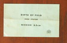 NIKON DEPTH OF FIELD CHART FOR 3.5CM/51570