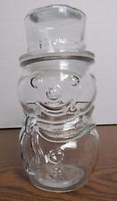 Clear Glass Snowman Apothecary Jar CANADA EUC