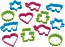 Kitchen Craft Let's Make Assorted Fun Shaped Plastic Cookie Cutters, 12 Mixed pc