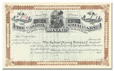 Carmer Mining Company Stock Certificate (Colorado)