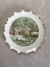 Currier & Ives The Old Homestead In Winter Decorative Collector Gold Trim Plate