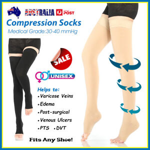 30-40 mmHg Medical Compression Stockings Edema Varicose Vein Flight Travel Socks