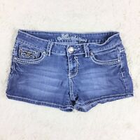 Miss Chic Jeans Womens Size Medium Gem Embellished Denim Shorts Flap Pockets. E2