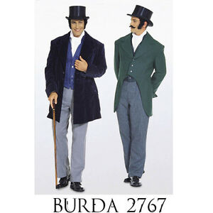 Burda 2767 Sewing Pattern Victorian Jacket Tailcoat Regency Costume Dickens Fest
