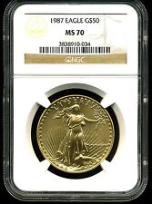 1987 G$50 Gold American Eagle MS70 NGC