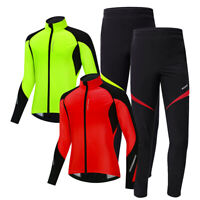 Men's Thermal Winter Cycling Jacket Pants Set Windproof Warm Coat & Trousers