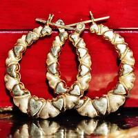 "14k yellow gold earrings 1.12"" heart hoop vintage  2.2gr"