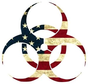 Biohazard American Flag Sticker Decal (Select your Size)