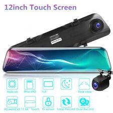 Car Dvr 12 inch Full Touch Screen Mirror Dash Cam Camera Record Driving Recorder