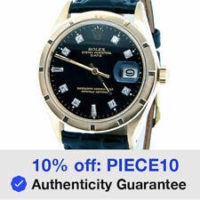 Rolex Fecha Reloj De Oro Amarillo Macizo 14K Motor-convertido Bisel Diamante Negro Dial