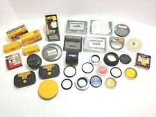 Lot Of Vtg Camera Accessories - Lenses, Kodak, Film, Filters, Lens Covers, Etc