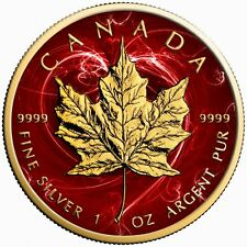 Canada Silver Maple Leaf Coin Passion Red Colorized and Gold Gilded Golden Noir