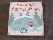 "Retro Vintage Airstream Travel Trailer ""Have a Very Merry CHRISTMAS"" Decor Sign"