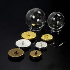 Round Glass Pendant Memory Locket Globe Charm Wide Mouth Opening Empty Bottle