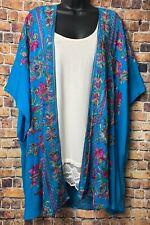 Umgee 1XL 2XL  Boho Hippie Prairie Embroidered Kimono Cardigan Aqua