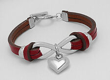 """New 7"""" Gorgeous True Blood Red Infinity Love Heart Leather Bracelet Toggle Clasp"""