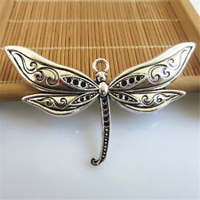 3pcs Large Antique Silver Dragonfly Insect Charm Fashion Pendant For DIY 79*41mm