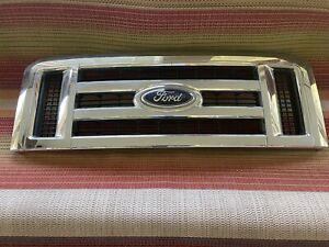 2008 - 2014 FORD E350 E450 SUPER DUTY VAN CHROME RADIATOR GRILLE ASSEMBLY OEM