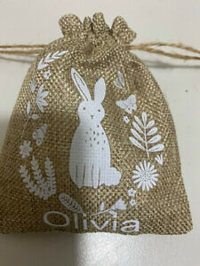 Personalized,Hessian,Bunny, Draw string bag, Gift, Party Favours, Easter