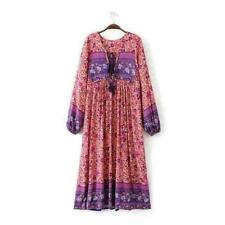 Ladies 70s Hippie India Ethnic Festival Dress Boho Floral Bib Midi Mini Dress