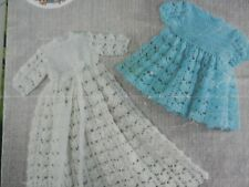 """Crochet Pattern Baby Girl Christening Gown and Dress Lacy Design 3 Ply 16-20"""""""