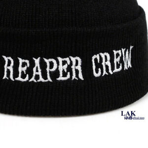 Reaper Crew Cap Black Sons of Anarchy Embroidery Patch Visor SAMCRO Baseball Cap