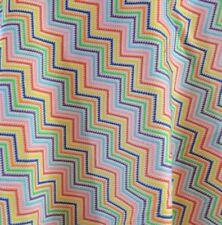 Vintage 1970's Chevron Rainbow Knitted Fabric Boho Hippie 44 Inches