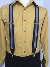 "New, Men's, Navy, Gray, Navy, XL,1.5"" Adj. Bostonian Suspenders / Braces,  USA"