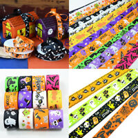 "7//8/"" Halloween Cartoon Grosgrain Ribbon 22mm Spooky Bats Witches"