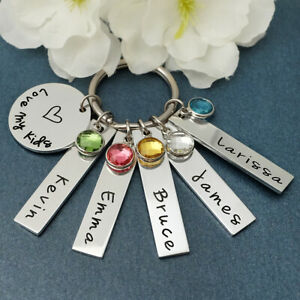 Personalized Keychain For Mom Child's Birthstones Keychain Mom Jewelry For Her