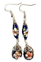 Long Blue Chinese Cloisonne Bead Earrings Antique Vintage Style Pierced