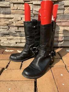 Jessica Simpson Inna Black Faux Leather Harness Bikers Motorcycle Boots 8.5M