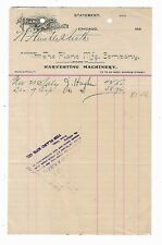 1890's Invoice Plano Mfg Company Harvesting Machinery Chicago Illinois Farming