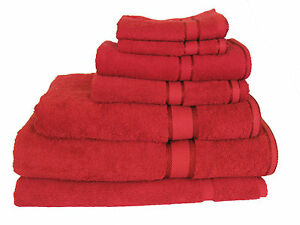 Brand New Quality 7 Pieces 100% Cotton Bath Towel Set - Red