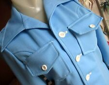 SMALL True Vtg 70s Womens DOUBLE KNIT BABY BLUE MOD GOGO COLLARED Jacket