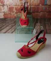 Ralph Lauren Red Espidrille Wedges Embroidered Whales Sz 11 B
