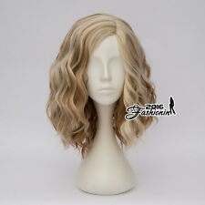 Harajuku 35CM Lolita Brown Mixed Blonde Curly Ombre Hair Party Women Cosplay Wig